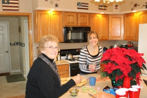 Mom and I iced Christmas cookies together this morning.
