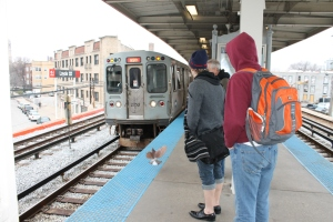 ...and boarded the El train to go in to downtown Chicago for some sightseeing.