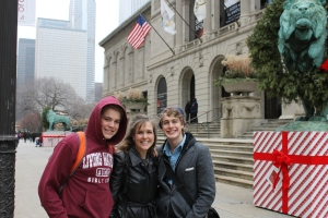 After the Willis Tower (Zachary's choice), we walked several blocks to the Chicago Institute of Art (Logan's choice).