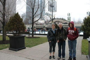 "After a quick lunch of cheese and crackers in Centennial Park, we headed down Michigan Avenue.  We stopped at the ""Bean"" to pose for a picture."