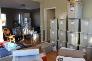 What our dining room looked like on Wednesday morning while Tim and Logan were travelling to Minnesota.  Zachary, Garrett and I staged the remaining furniture, boxes, and bins for those coming later to help load the truck.