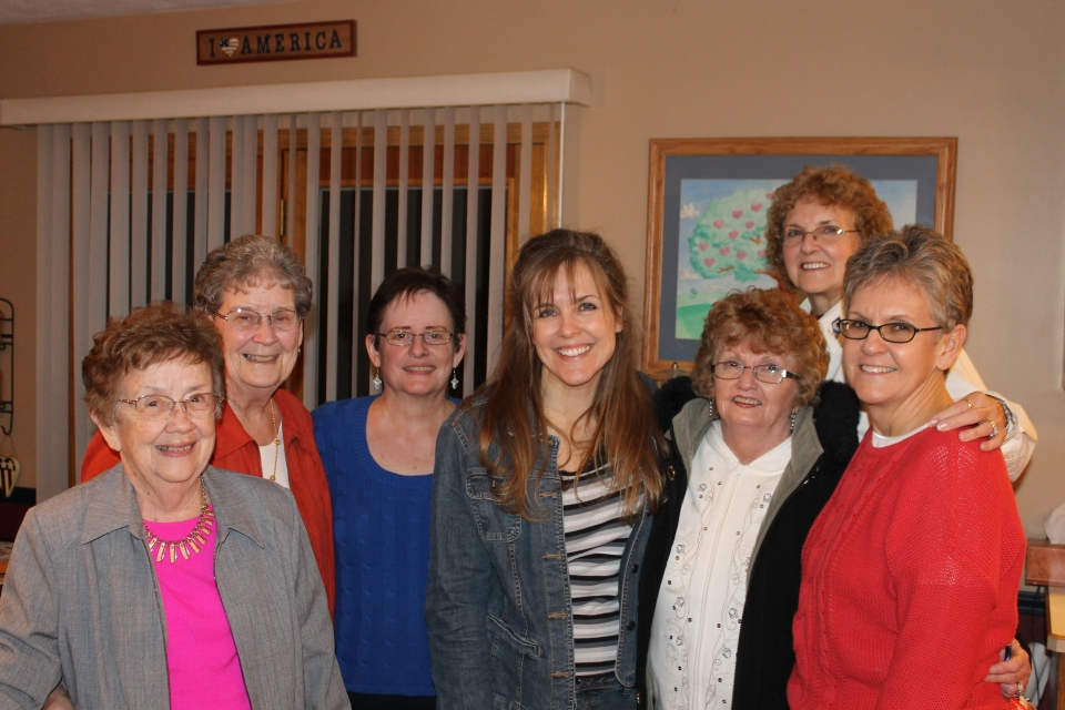 The women at the send off party at my parent's house.  From left to right: Laureen Floyd, Jane Morlan, Connie Mikel, me, Peggy Hobson (aunt), mom, Bonnie Myers (aunt).