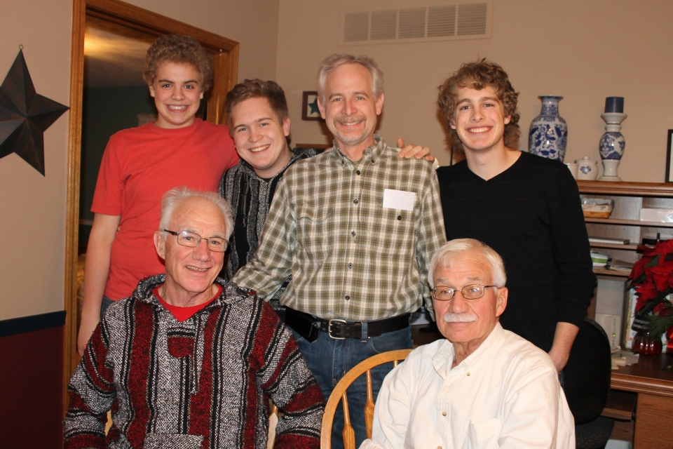 The men at the send-off party at my parent's house: the guys with Dick Mikels and Don Mikel.