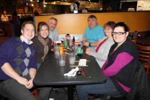 Good-bye dinner with Abby's parents, Gordon and Merilee Huffman, at Hu-Hot.