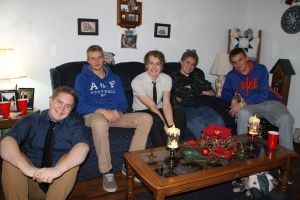 Christmas eve:  Garrett, Logan and Zachary with cousin Jeremy and my cousin's foreign exchange student.