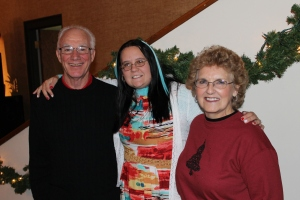 Christmas eve service with my parents and a dear friend, Sheebah, at my parent's church.