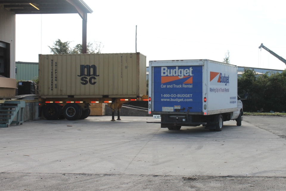 Arriving at the Port of Charleston to transfer items being shipped to the Bahamas from the moving truck to the shipping container.