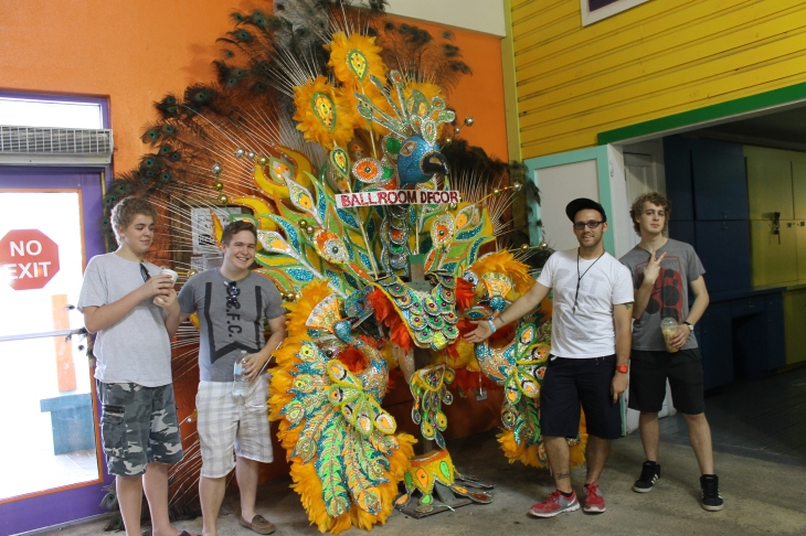 This is another Junkanoo Festival costume in the building where all the cruise ship passengers enter the port.