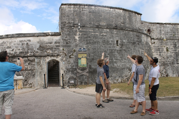 At the top of the staircase is one of the island's forts.