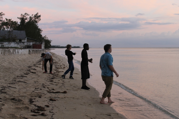 The boys skipping stones into the ocean.