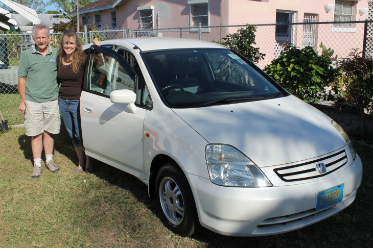 On Thursday, after dropping Garrett off at the airport, we went to pick up the car from the seller.  The seller had it all ready for us--clean, alarm system installed, etc.  We owned our first right-side drive car.