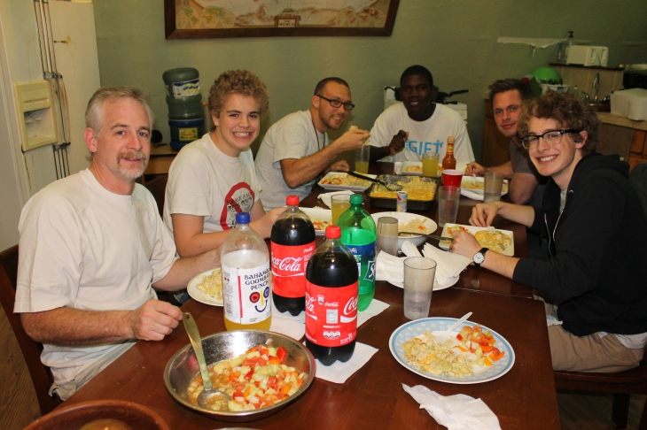 After a little time of cleaning at the house, we got together for a meal at our temporary home.  Mike, one of the facilitators at the Centre (sitting by Zachary in this picture) and Kevin cooked supper for us.