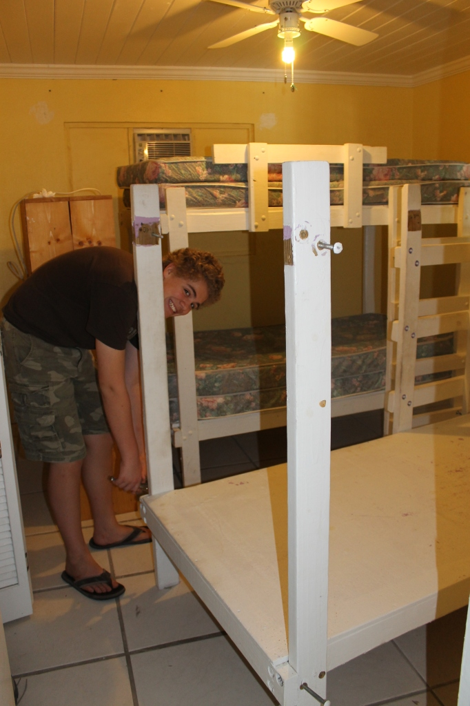 Friday (1/25), it was back to work in the house--taking apart beds....