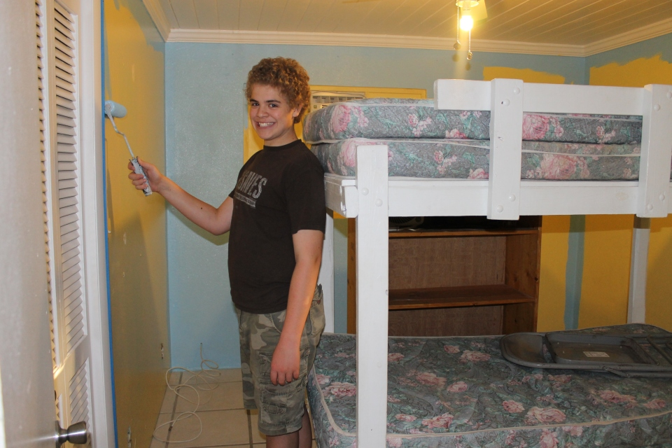 ...and more painting (this is Zachary and Logan's room).