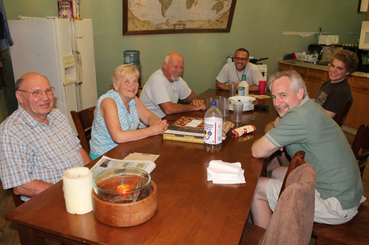 After a long day constructing, painting and cleaning (and did I say that we also were hosting a group at camp?), we got together back at the loft for pizza.  With us were, Bob and Faye (a Canadian couple who come here to help out every winter), Tom (maintenance), and Mike (ALC facilitator).