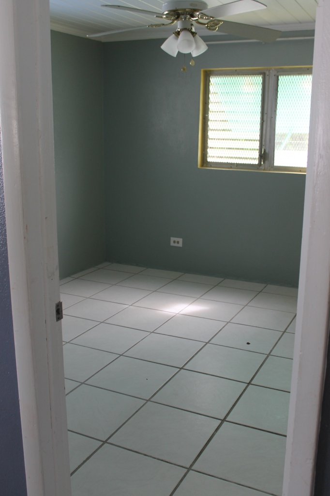 We finished painting our room on Friday and cleaned it on Saturday (love what bleach can do to tile floors!).