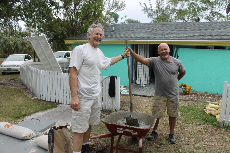 Saturday (1/26) Tim and Tom were mixing up the cement to build the edge to the shower.