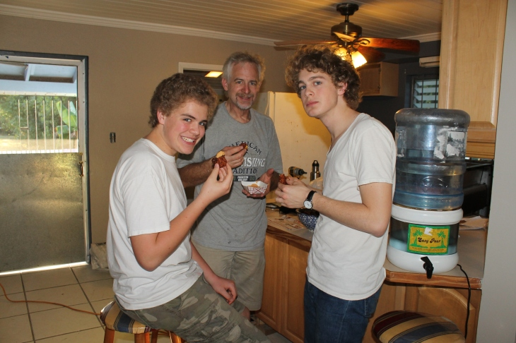 The guys enjoying an afternoon snack of conch fritters made by Eddie (our kitchen guy here at the camp).
