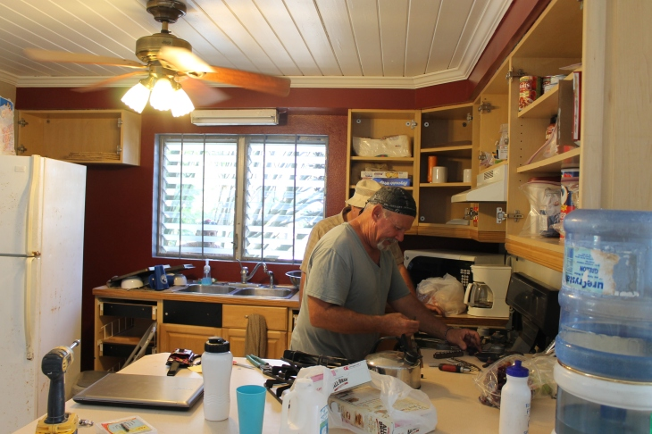 On Tuesday, I did not get a lot done around the house.  I spent the morning on one of my loooong shopping trips trying to find what I need while Tim spent much of the day working on camp stuff at the Centre.  Tom and Bob fixed the stove.  These guys remind me a lot of Erv Jung and Dan Melcher back at camp.  They can fix almost anything.