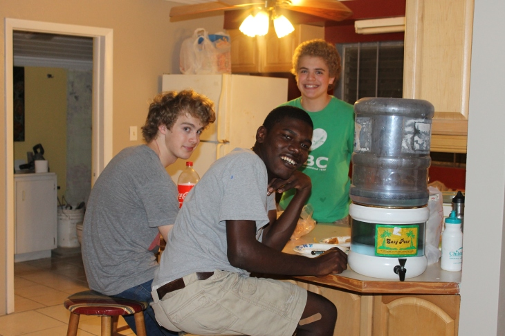 Tuesday evening we had our neighbors over for a good ole American meal:  pot roast, potatoes, carrots, onions and celery cooked in a crockpot.  The boys with Kevin.