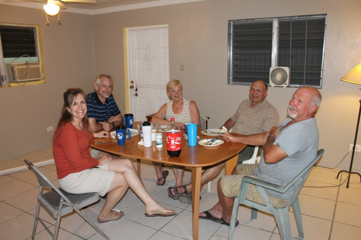 Eating at the old table in our living room.  Bob, Faye and Tom joined us for dinner.