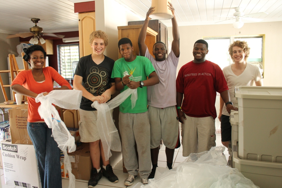 The young people from Pastor Cranston's church who helped us unload the truck.  We had pizza for them after they helped with the moving in.