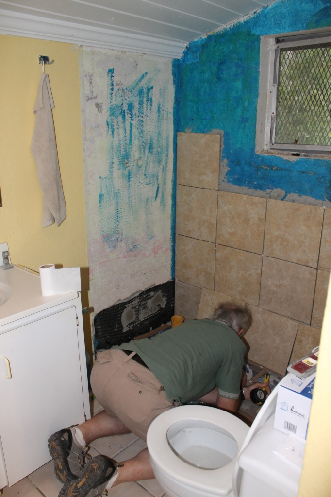 While I worked on unpacking over the next couple of days, Tim worked on tiling the shower in the bathroom.