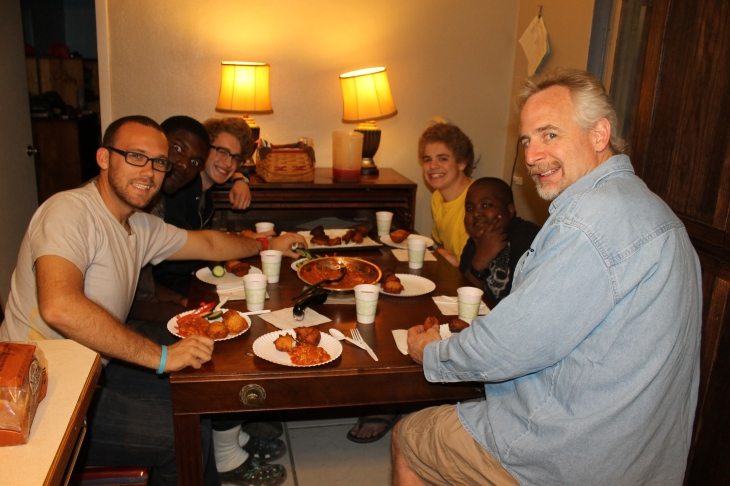 That evening:  first meal with guests at our new table and first sleep over for the boys!