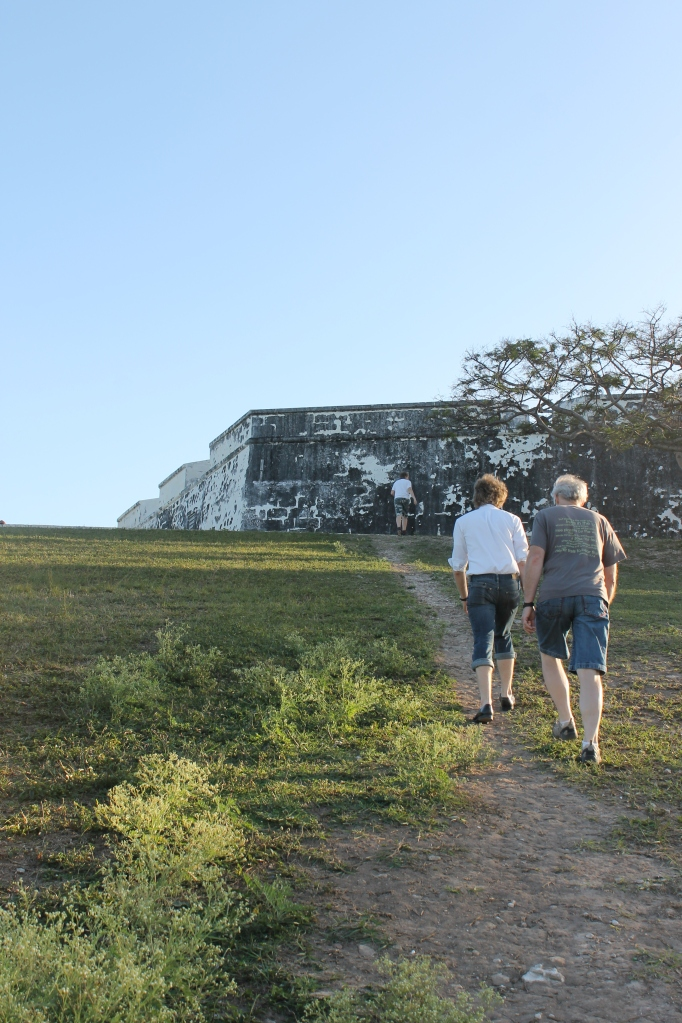 After enjoying the beach for a short time, we hiked up the hill across the street from Arawak Cay and the beach towards Fort Charlotte.