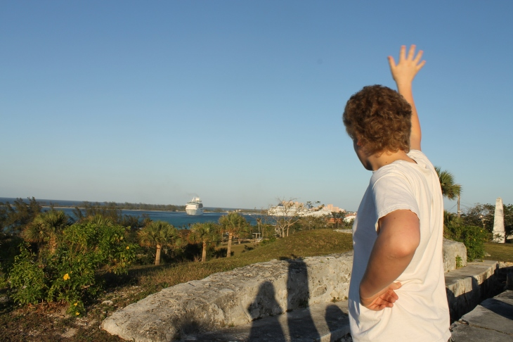 Zachary waving good-bye to one of the departing cruise ships.  I wonder if they can see him?