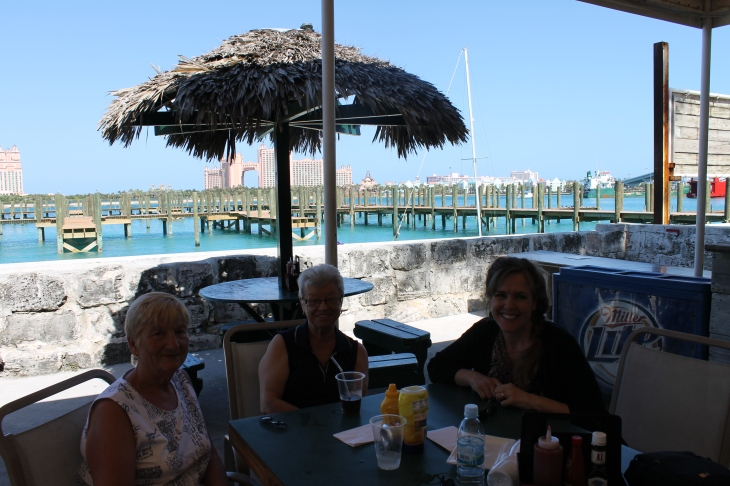 "Lunch at ""The Green Parrot"" with Faye and Marcia  (Faye is from Canada and is here helping at the ALC with her husband until April.  Marcia lives here on the island.)  LOVE these ladies!"