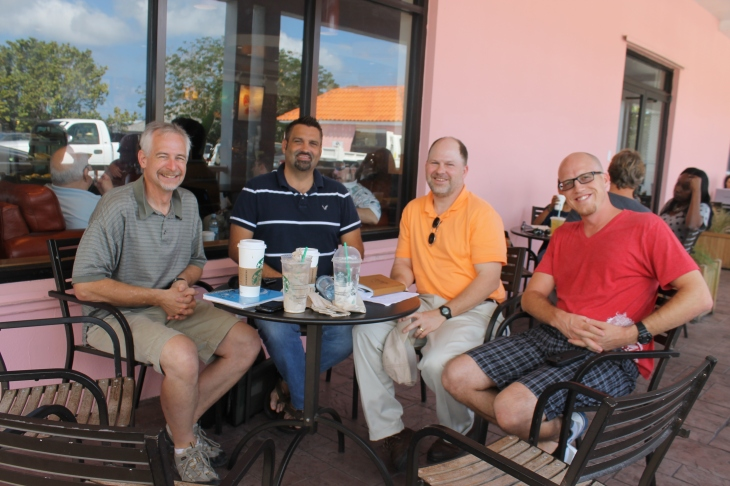 Our friend, Phil Barker, arranged a meeting with the director of a Bible camp on one of the sister islands at Starbucks.  Tim, Richard Asbury (Director of Camp Bahamas on Eleuthera Island), Phil Barker, and Pastor Mike (from Calvary Chapel, Ft. Lauderdale)