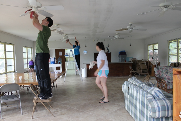 JMU students did some service projects around camp.  They cleaned the dining hall in preparation of us painting it that week.