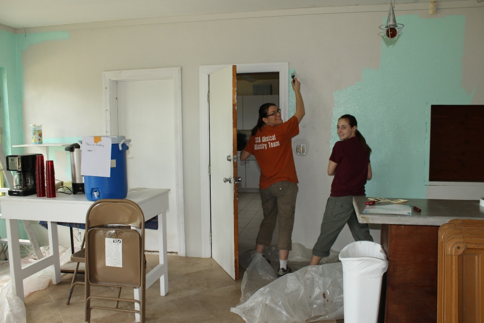 On Tuesday, we put on work clothes and began the long day project of painting the dining hall.  Katie and Sheila were such a huge help with this huge project!