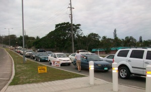 ALC staff ventured out on Tuesday morning to hand out leaflets advertising Easter Monday Funday at ALC.  They targeted the many area round-abouts where traffic builds up.  This is Logan at the Blue Hill and East West Hwy round about.