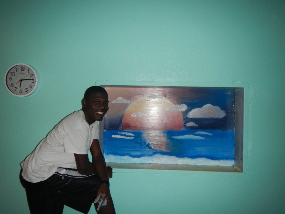 Kevin, the artist that he is, made this beautiful sunset picture in a very short time in the dining hall.