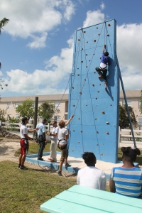 The older children were able to climb the rock wall.