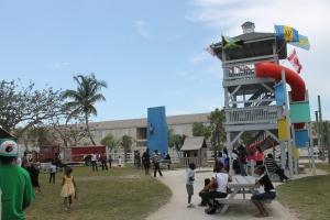 Playground, climbing wall...