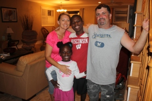 Fellow missionaries, Tim and Felicia Ryan with their foster children, Richelle and Shadow,  had us over for dinner one evening last week.