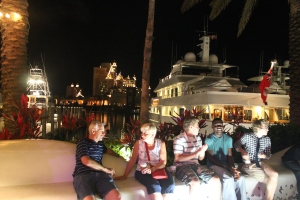 Sitting in Marina Village waiting for our first Junkanoo Parade.
