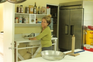 Stephanie did a lot of deep cleaning in the kitchen, and she helped us with cooking for the guest group.