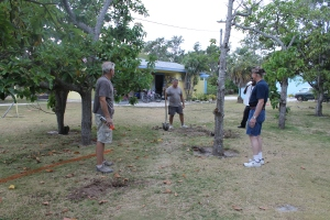 Tom, Tim and Dick trying to locate utilities lines in the yard.
