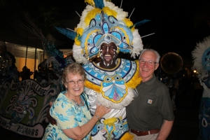 Mom and Dick experienced their first Junkanoo parade.