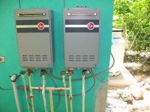 Twin water heaters at the bathhouse.  The building should have plenty of hot water now!