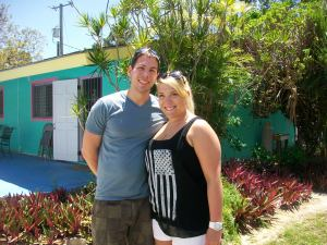 Katie and Jesse were visiting the island for the day while their cruise ship was in port.  Katie worked here a couple years ago.  They were married last year and stayed at the camp for part of their honeymoon.  We were able to give them a tour of the house where they stayed last year and where she had lived when she was working here.