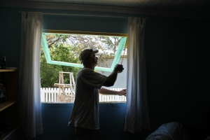 Tim was finally able to install a window to the outside in the boy's room.