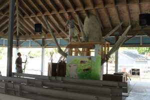Mark and Eric working on the new tree house puppet stage.