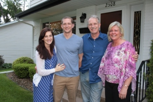 On Sunday evening, Tim's sister Becky and her husband, son and daughter-in-law came over to visit.  This Paul and Becky Kuehn with Bryan and Suzanne.