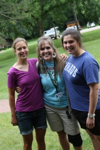 Two of the 3 LWBC 2012 interns.  On the left is Bethany Seeley (no relationship to us) and on the right is Tomke Fahrenholz from Germany.  It was a total surprise to us that they were going to be at camp this year.