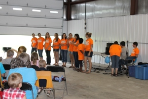 After camp we attended our former church's community outreach in Viroqua.  The young people presented the gospel in skits, stories and songs to the area children and then fed them and played games with them.